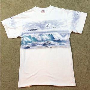 90's Single Stitch Wrap Around Beach Print Tee
